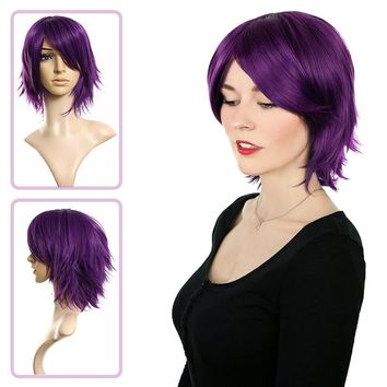 Dark Purple Women's Fashion Short Straight Hair Girl Full Wigs wig Cosplay Party