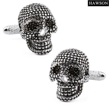 Free Shipping Skull Cufflinks Brand Luxury Black Enamel Men Cuff links