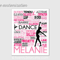 Dance Typography Art, Girl's Room Art, Choose the Colors, Gift for any Dancer, Tap, Ballet, Hip-Hop Teacher Dance Team, Canvas or Art Print