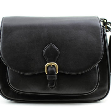 C112 Black PU Leather Camera Bag w/ Shoulder Strap