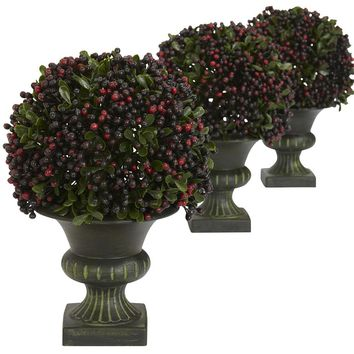 Silk Flowers -Pepper Berry Ball Topiary -Set Of 3 Artificial Plant