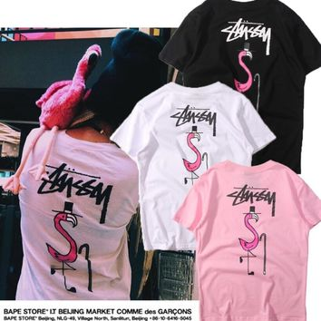 Stussy Fashion Print The Flamingo Round Collar Tops T-Shirt