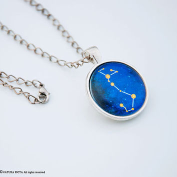 Zodiac sign necklace-constellation neckalce-astrology necklace-horoscope necklace-birthday necklace-star neckalce-space-NATURA PICTA-NPNK043