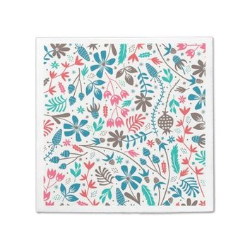 Retro Floral Pattern Standard Cocktail Napkin