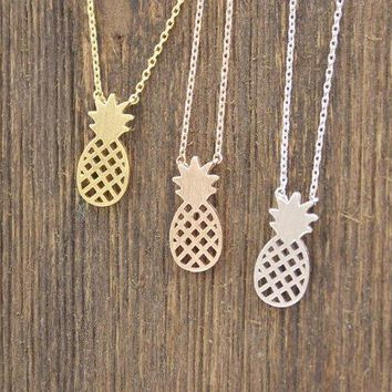 Cute Pineapple Pendant Necklaces In 3 Colors N0116k