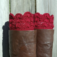Boot Cuffs in Scarlet Red Crochet Boot Toppers Boot Socks
