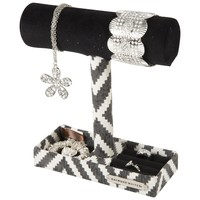 Jewelry Bar with Tray with Ring Holder in Base (Black and Cream)