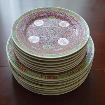Antique China, Dish Set, Chinese dishes, Longevity pattern, Porcelain Dish, Serving Dishes, Oriental china,