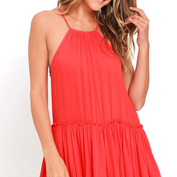 Feel the Beat Coral Red Swing Dress