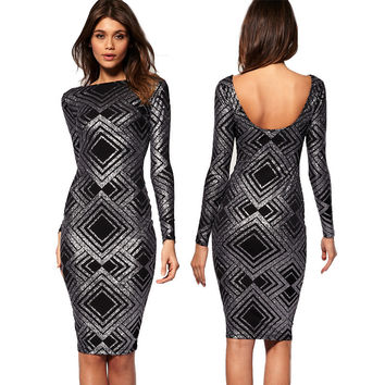 Women's Fashion Sexy Backless Print Long Sleeve Slim Bandages Dress Prom Dress [4919741956]