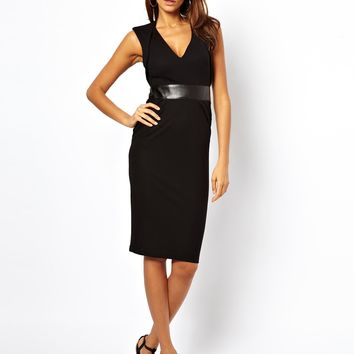 ASOS Sexy Pencil Dress With Plunge Neck and Leather Look Panel