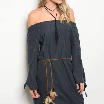 Ladies fashion long sleeve off the shoulder shift dress with a feathered waist tie