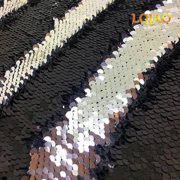 125*45CM 5mm Sparkly Black/Silver Embroidered Mermaid Reversible Sequin Fabric for Clothes/Dress/Wedding Decor diy craft sewing