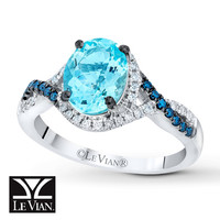 LeVian Aquamarine Ring 1/4 ct tw Diamonds 14K Vanilla Gold
