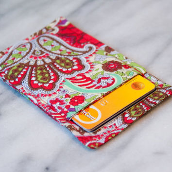 Red Paisley wallet - Business card holder - Business card case - Thin wallet - Slim card wallet - Card Case - Card Sleeve - Front pocket
