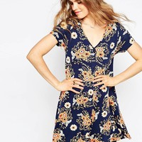 ASOS Button Through Swing Dress in Floral Print