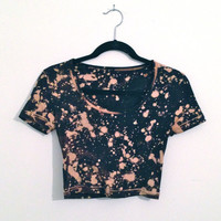 Bleach Splatter Crop Top Size Small