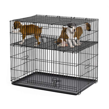 "Midwest Puppy Playpen with Plastic Pan and 1/2"" Floor Grid Black 24"" x 36"" x 30"""