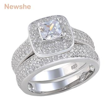 SHIPS FROM USA 2.26 Ct Princess Cut AAA CZ 925 Sterling Silver Halo Wedding Ring Set Engagement Band Fashion Jewelry For Women JR4230