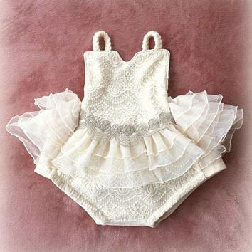 US Infant Baby Girl Lace Ruffle Romper Princess Pageant Birthday Party Clothes