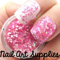nailartsupplies | Pink Confetti - Bright Pink Raw Fine Nail Glitter Mix 3.5 Grams | Online Store Powered by Storenvy