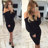 Black Off-Shoulder Long Sleeves Ruched Dress