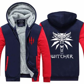 2017 Mens Hoodie winter The Witcher 3 Thicken Fleece Iron Wolf clothes With velvet US EU Plus Size clothing  cashmere Movie
