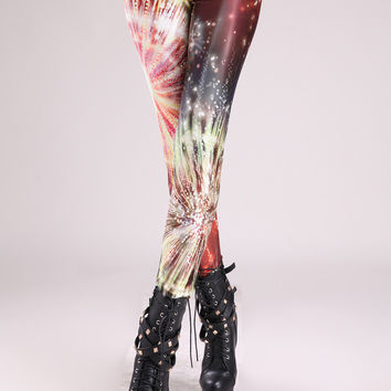 Red Fireworks Show Print Leggings