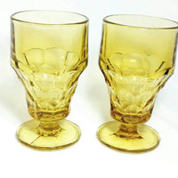 Vintage Viking Georgian Amber Glass Footed Tumblers/Yellow Mid Century Drinkware/Thumb Print Glass (Lot of 2)