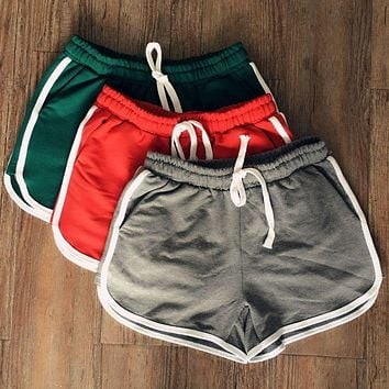 Summer Korean Style Women Clothes Leisure Elastic Waist Drawstring Shorts With Pocket Female Casual Short Feminino Fitness