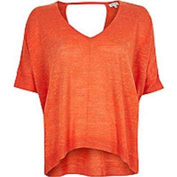 Orange slub linen-blend t-shirt
