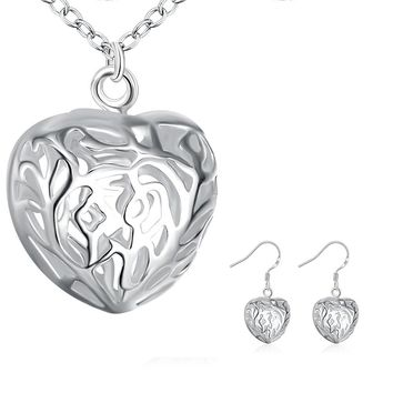Silver Plated Tree of Life Heart Necklace and Earrings Jewelry Sets