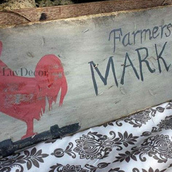 Farmers Market Sign/ Rustic Kitchen decor/ Rooster sign/ Hand painted/ Farm house decor/ Wood sign/ Kitchen decor/ Country/ Primitive