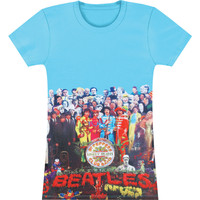 Beatles Women's  Sgt Peppers Album Allover Girls Jr Blue
