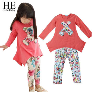 HE Hello Enjoy girls clothes autumn 2016 Casual clothes baby girl dress T-shirt + Flower Legging Clothing Set children clothing