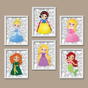 Princess Wall Art Disney Canvas Girl Artwork Child Flower Set of 6 Prints Baby Bedroom Decor