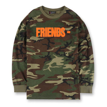 Mens Vlone Friends Letter V Print Camouflage T-shirts Long Sleeve Army Military Camo Tees Hip hop Fashion Camisetas Hombre S-XL