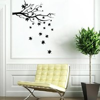 Tree Branch Leaves Wall Vinyl Decals Sticker Home Interior Decor for Any Room Housewares Mural Design Graphic Bedroom Wall Decal (5532)