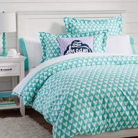 Sweethearts Flannel Duvet Cover + Sham, Pool