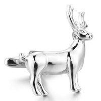 Deer Cufflinks Hunter Animal Gun Gift + Box & Cleaner