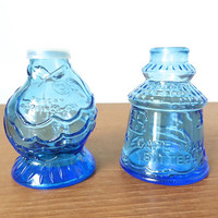 Wheaton, NJ blue glass Cape May Bitters and Tuscan Springs, CAL shakers with inserts