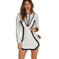 Promo-white Monochrome Fitted Dress