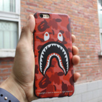 Trendy Red Shark AAPE Iphone 7 7plus & 6 6s Plus Cover Case