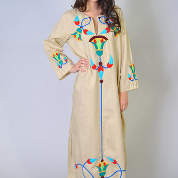Vintage 70s Caftan Embroidered Tunic Folk Abstract Neutral Embroidered Maxi Dress OS Boho Hippie Festival Ethnic