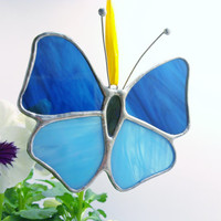Blue Butterfly Stained Glass Sun Catcher Spring Stained Glass Sun Catcher Ready to Ship