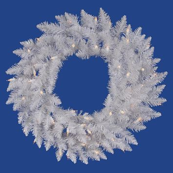 "60"" Pre-Lit Sparkle White Spruce Artificial Christmas Wreath - Clear Lights"