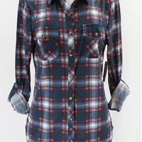 Navy Flannel Button Up