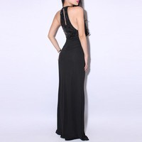 Bqueen Halter Black Dress LN033H - Designer Shoes|Bqueenshoes.com