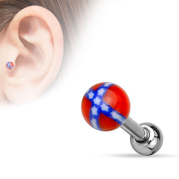 Rebel Cartilage Tragus Barbell 316L Surgical Steel Acrylic 16ga Helix Body Jewelry