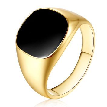 Solid Polished Stainless Steel Band Biker Men Signet Ring Black Gold 10